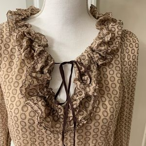 Anthropologie Leifsdottir brown silk ruffle blouse